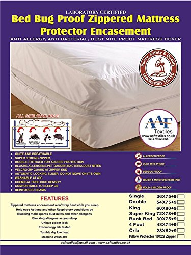 SMALL-DOUBLE-AAF-BED-BUG-SAVER-MATTRESS-COVER-ZIPPERED-ANTI-ALLERGY-ANTI-DUST-MITE-PET-DANDER-Small-Double-White