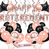 JOYMEMO Decorazioni per Feste di pensionamento per Donne - Articoli per la Pensione Oro Rosa, Banner a Forma di Palloncino per pensionamento, Cintura retinata, Palloncini a Forma di coriandoli