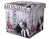 Ondis24 Polsterhocker Kleiderbox Utensilienkiste Marilyn Monroe Sitzhocker Hocker Faltbar mit Stauraum 40 Liter Aufbewahrungsbox