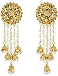 The Luxor Gold Plated Pearls Tassel Bahubali Jhumki Earrings For Girls And Women(ER-1802)
