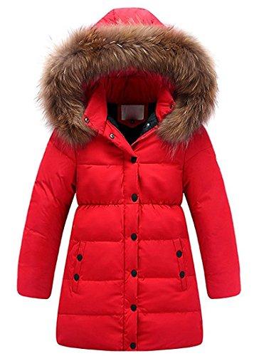 Minetom Mädchen Winter Lang Wintermantel Mantel Jacket Trenchcoat Parka Oberbekleidung Kleidung Rot 146/152
