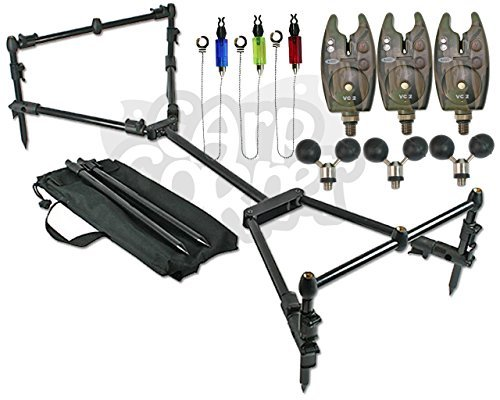 Carp Fishing Compact Black Rod Pod Setup With 3 Bite Alarms Hanger Indicators & Ball Rests by NGT