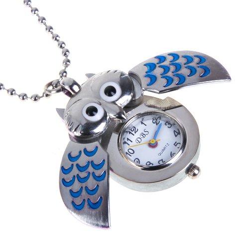 Plata Y Azul Mini Búho Reloj De Bolsillo Del Collar