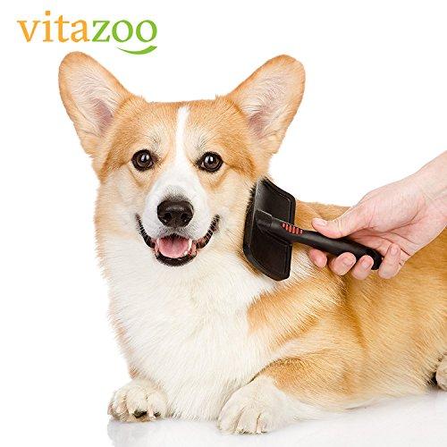 VITAZOO Premium Hundehaarbürste Hundebürste, Softbürste, Fellbürste in schwarz für Hunde und Katzen mit 2 Jahren Zufriedenheitsgarantie - 4