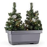 blumfeldt Santaville Schneeflocke balkonkasten Weihnachtsdeko LED Timer grau