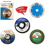 Professional Cutting Tool Combo Offer of 4 inches or 110 mm Wheel-Grinding Angle Grinder, Set of 5   Wheel Grinding Disc   Saw Blade  