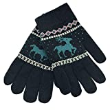XXYsm Kinder Handschuhe Winter Fäustlinge Weihnachten warm Karikatur Rotwild gestrickte Christmas Gloves Schwarz