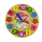 Reasoncool Baby Kids Wooden Digital Geometry Clock Toy Wooden Block Toy Wisdom Development Puzzle Educational Toy Child Gift