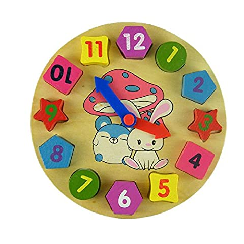 Rcool Baby Kids Wooden Digital Geometry Clock Toy Wooden Block Toy Wisdom Development Puzzle Educational Toy Child Gift