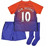 Top Selling Manchester City FC 10 Sergio Aguero The Third Away Soccer Football Jersey Youth In Orange For Children
