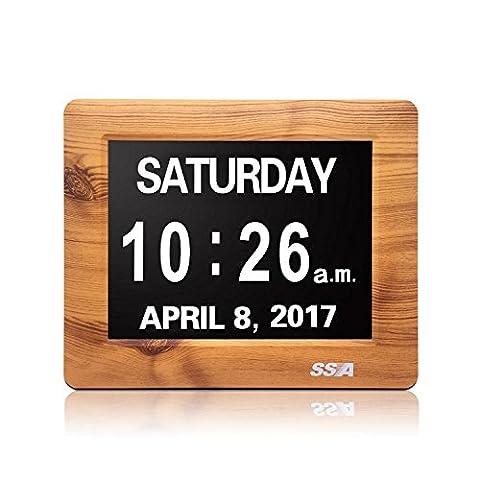 """Demenz-Tagesuhr, Gedächtnisverlust Digitalkalender-Tagesuhr, mit extra großem nicht abgekürztem Tag u. Monat. Perfekt für Senioren (7"""" Wood)"""