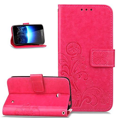 Nokia Lumia 635 Hülle,Nokia Lumia 630 Hülle,ikasus Prägung Klee Blumen Muster PU Lederhülle Flip Hülle Cover Schale Ständer Wallet Case Schutzhülle für Nokia Lumia 630/635,Klee Blumen:Rose Red