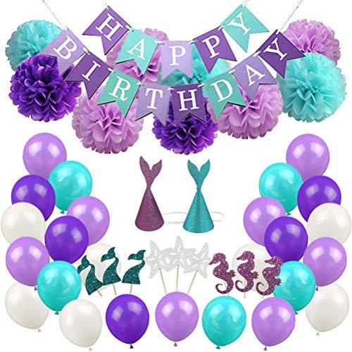 ppy Birthday Banner Pom Poms Blumen Meerjungfrau Hüte Latex Luftballons Kuchen Topper Meerjungfrau Geburtstag Party Dekorationen Liefert Kit ()