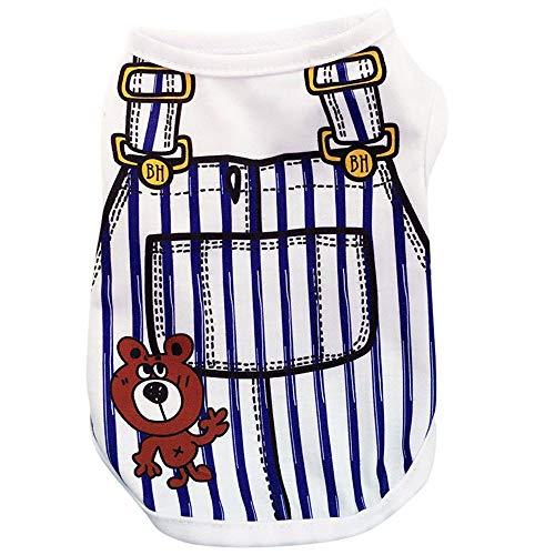 YWLINK Sommer Haustier TräGerkleid Anzug Karikatur Drucken Hunde T-Shirt HüNdchen Katze Weste Shirt(Dunkelblau,S)