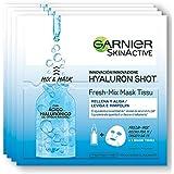 Garnier Hyaluron Shot, Mascarilla antiestrés relajante para la cara - 33 gr, 4 paquetes