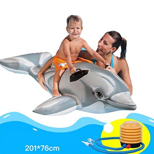 Hochwertige Pool Float Schwimmendes Bett Wasser-Reitaufzug-Erwachsen-Kind-aufblasbares Spiel-Spielzeug-Delphin-sich hin- und herbewegende Reihe verdicken Kinderschwimmen-Ring KKY-ENTER