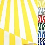 TOLKO Sonnenschutz CLASSIC Markisen-Stoff Meterware zum Nähen mit UV-Schutz 50+   Wasserdicht, Extra Langlebig - ohne Ausbleichen, 120cm Breite (Gelb-Weiß)