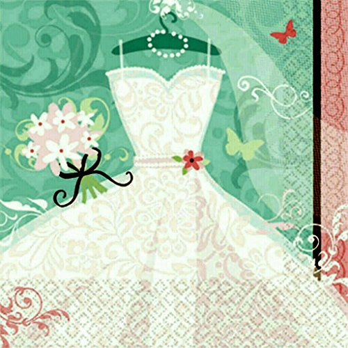 Großpackung Hochzeit Cocktail Servietten mit Prägung Hochzeitskleid 36 Stück 25x25cm