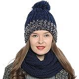 DonDon Damen Wintermütze Strickmütze gefüttert warm und weich mit Bommel blau-weiß-braun