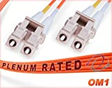 4M OM1 LC LC Plenum Fiber Patch Cable | Duplex 62.5/125 LC to LC Multimode Jumper 4 Meter (13.12ft) | Length Options: 0.5M-300M | FiberCablesDirect - Made in USA | Alt: ofnp lc-lc mm dx lc/lc mmf