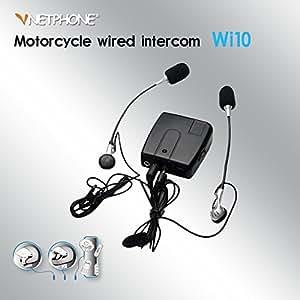 Vnetphone ® Intercom moto pour pilote et Passager filaire talk WI10/moto interphone filaire