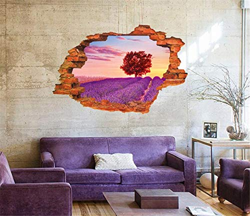 lavendel blume feld 3D entfernbare wandaufkleber schlafzimmer warm wohnzimmer sofa TV hintergrund wand kreative malerei, 60 * 90 cm ()