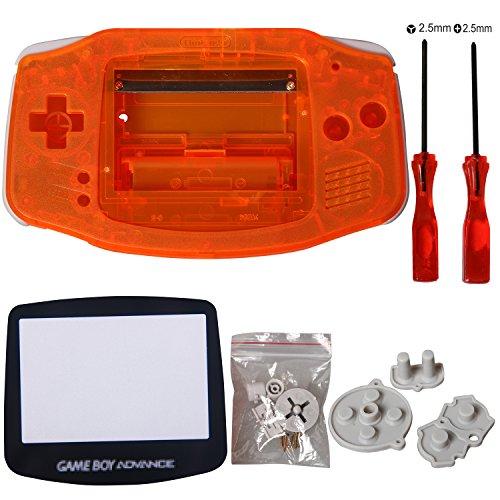 eJiasu Remplacement complet des pièces de rechange Shell Réparer la couverture de la pièce pour Nintendo Gameboy Advance GBA (1PC GBA Shell transparent orange avec lentille et tournevis)