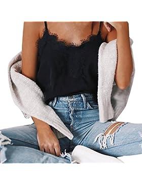 Weant Canotta Donna T-Shirt Crop Tops Canottiere Canotta Felpe Lace Donne Elegante Girocollo Pizzo Tank Top Casual...