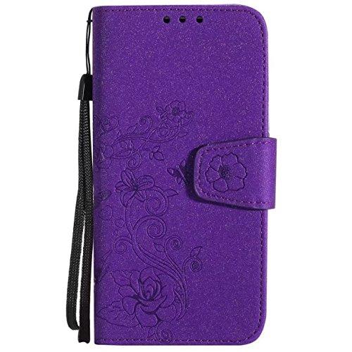 Abnehmbare 2 in 1 PU + TPU Ledertasche geprägte Blumen Stil glänzende Sparkles Brieftasche Stand Case Cover mit Kreditkarte Slots & Lanyard & Magnetic Closure für Samsung Galaxy J3 J310 ( Color : Blac Purple