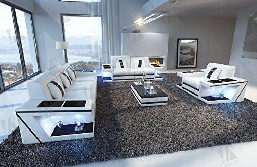 Designer Couch Paderborn 3er, 2er & Sessel weiss schwarz - 5
