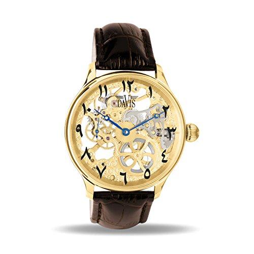 Davis 0895East - Herren Skeleton Uhr Gold Mechanisch Skelett mit sichtbarem Uhrwerk Östlichen arabischen Zahlen Lederarmband Braun