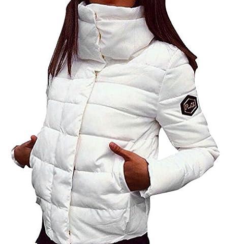 LAEMILIA Veste Manteau Parka Doudoune Blouson Femme Hiver Chaud Manche Longue Jacket Col Montant Fille (FR36, Blanc)