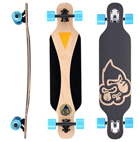 Herren Skateboard Deck (STAR-SKATEBOARDS® Premium Canadian Maple Drop Through Flush Cut Pro Longboard Skateboard für Kinder auch Anfänger ab ca. 6 - 8 Jahre ★ 65mm Kids Cruiser/Dancer Edition ★ Cruising Penguin Design)