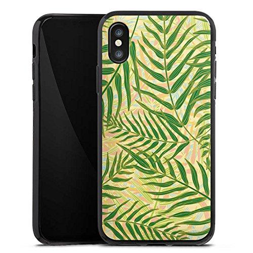 Apple iPhone X Silikon Hülle Case Schutzhülle Tropische dschungel Blätter Silikon Case schwarz