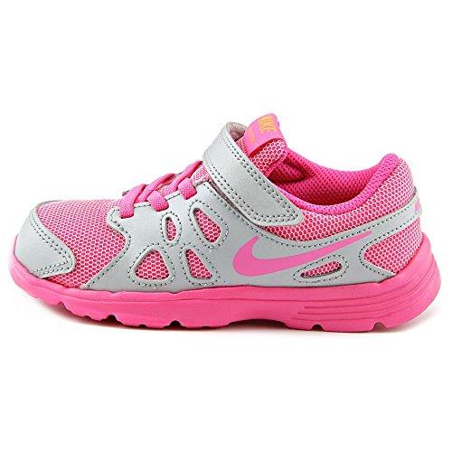 Nike - Revolution 2 Tdv, Scarpe da ginnastica Bimbo 0-24 Multicolore (Plateado / Rosa / Blanco (Mtlc Pltnm / Pnk Pw-White-Brght))