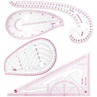 CCMART 4 Stlye French Curve Ruler for Sewing, Plastic Metric Ruler Sewing Tools Measure for Dressmaking Pattern Design DIY Clothing Bendable Drawing Template