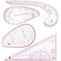 CCMART 4 Stlye - Regla de curva francesa para costura, regla métrica de plástico, herramientas de costura, medida para costura, diseño de patrón, bricolaje, ropa, plantilla de dibujo flexible.