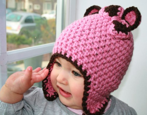 Crochet pattern bear earflap hat with bow, includes 4 sizes from baby to adult (Crochet animal hats Book 1) (English Edition) Knit Hat Earflap