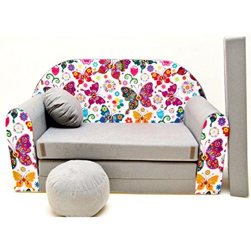 WELOX a33 KindersofaBettfunktion3in1-Kindersessel,Ausziehbett,Schmetterlinge, Eierschalenfarbe