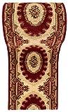WE LOVE RUGS CARPETO Läufer Teppich Flur in Weinrot Rot Beige - Orientalisch Muster - 3D-Effekt Dichter und Dicker Flor - Läuferteppich Nach Maß - ISKANDER Kollektion 90 x 400 cm