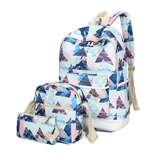 Frauen 3 Stück Leinwand Dreieck Muster Mädchen-Tasche Rucksack Multicolor Blue