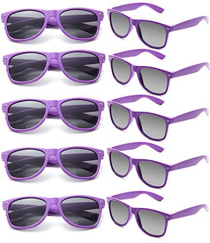 FSMILING Nerd Party Sonnenbrille UV400 Retro Design Stil Unisex Brille (10 Stück Lila Brillen)