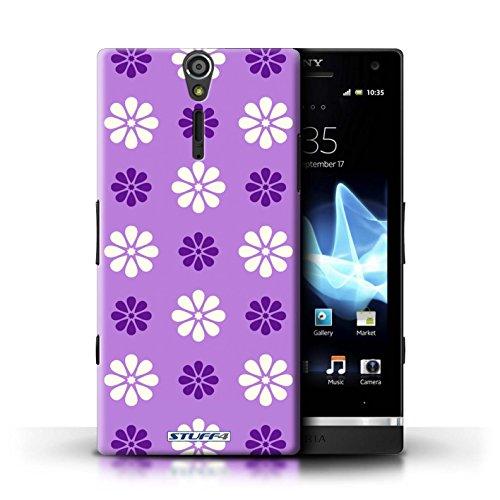 Kobalt® Imprimé Etui / Coque pour Sony Xperia S/LT26i / Violet conception / Série Motif avec pétales Violet