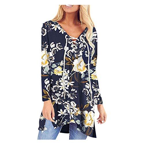 Damen Langarmhemd Tops Floar Print V-Ausschnitt Schnürung Kordelzug Mit Tasche Flowy Lässige Bluse Übergröße(2XL,Gelb)