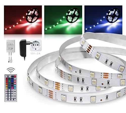LED Streifen 3m RGB Set mit Steckernetzteil und Infrarot-Fernbedienung (RGB LED Strip 3 Meter - bunt,mehrfarbig,Weiß-Modus,Farbwechsel - 30LED/m, IP20, 12V SELV, 24W-Netzteil, IR Controller und Fernbedienung mit 44 Tasten) - ideal als Ambiente-Beleuchtung, Wohnzimmer-Beleuchtung, Schlafzimmer-Beleuchtung, Kinderzimmer-Beleuchtung, langlebig, günstig und energieeffizient
