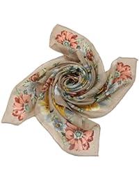 Prettystern - 100cm X 100cm écharpe en laine imprimé fleurs – beige
