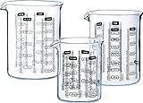 Glasbehälter, Messbecher 3 teiliges Set von Pyrex® • Inhalt 250 ml / 500 ml und 750 ml