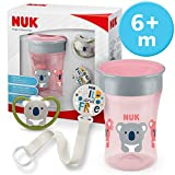NUK Magic Cup & Set, Magic Cup Trinklernbecher, Space Schnuller & Schnullerkette, 6+ Monate, BPA-frei, Koala/Rosa, 3 Stück