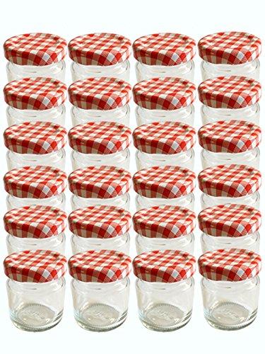 Horno desmoldable Juego vacías redondo-Tarros vasos 53ml Tapa Color Rojo Blanco Cuadros to 43tarros...