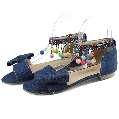 Oasap Women's Peep Toe Bow Ankle Strap Flat Sandals with Pom Pom Deep Blue